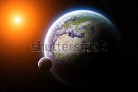 Zonsopgang aarde ruimte zon zonsondergang Stockfoto © sdecoret