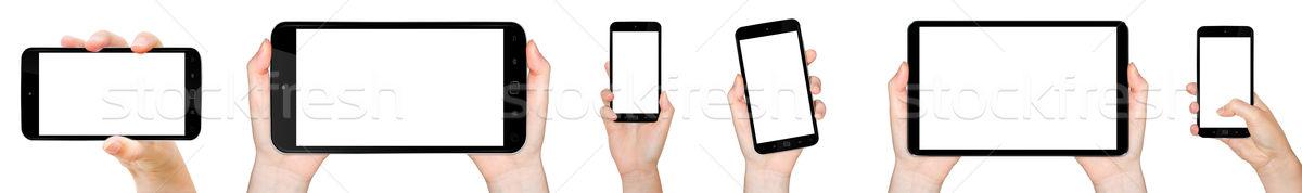 стороны мобильного телефона человек современных телефон Сток-фото © sdecoret