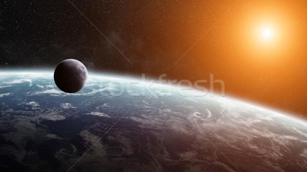 Napfelkelte Föld űr kilátás naplemente tenger Stock fotó © sdecoret