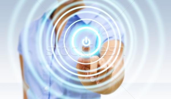 Zakenvrouw digitale interface kantoor vrouw hand Stockfoto © sdecoret