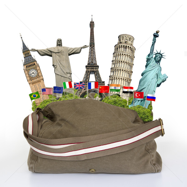Сток-фото: иллюстрация · путешествия · сумку · полный · известный · памятники