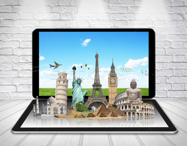 Monuments of the world on a tactile tablet Stock photo © sdecoret