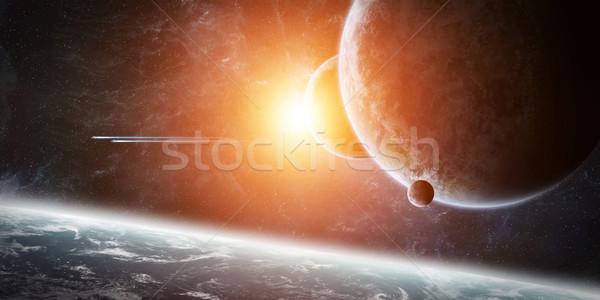 Sunrise pianeta terra spazio view tramonto mare Foto d'archivio © sdecoret