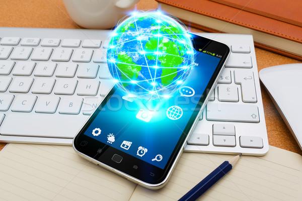 современных мобильного телефона Мир служба Flying компьютер Сток-фото © sdecoret