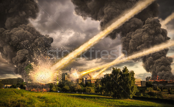 Meteorite shower over a city Stock photo © sdecoret