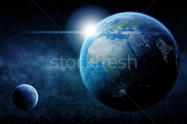 Meteorit bolygó űr kilátás égbolt földgömb Stock fotó © sdecoret
