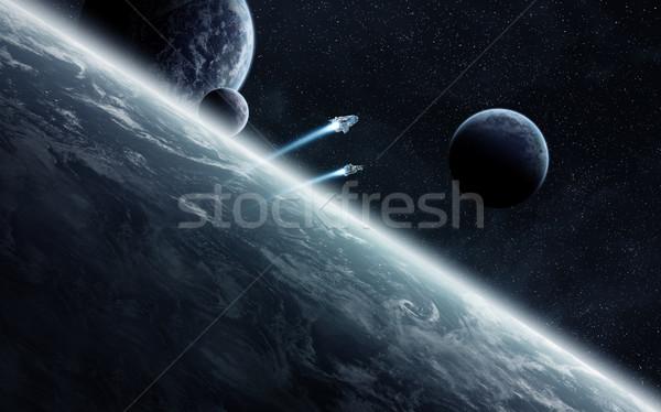 Amanecer planetas espacio vista sol puesta de sol Foto stock © sdecoret