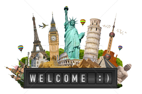 Monuments of the world on a airport billboard panel Stock photo © sdecoret