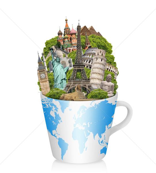 Illustrazione noto mondo monumenti Cup caffè Foto d'archivio © sdecoret
