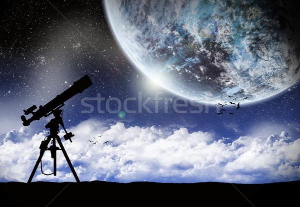 Telescópio assistindo maneira ilustração céu mundo Foto stock © sdecoret