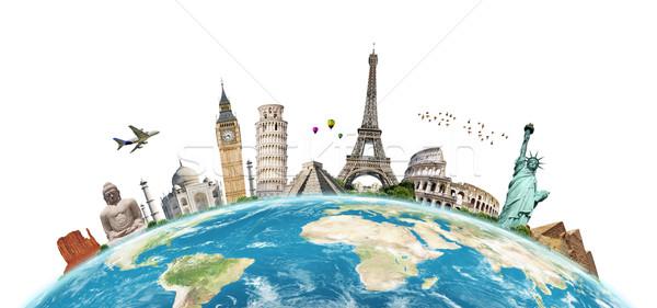 Illustration célèbre monde monuments ensemble planète terre Photo stock © sdecoret
