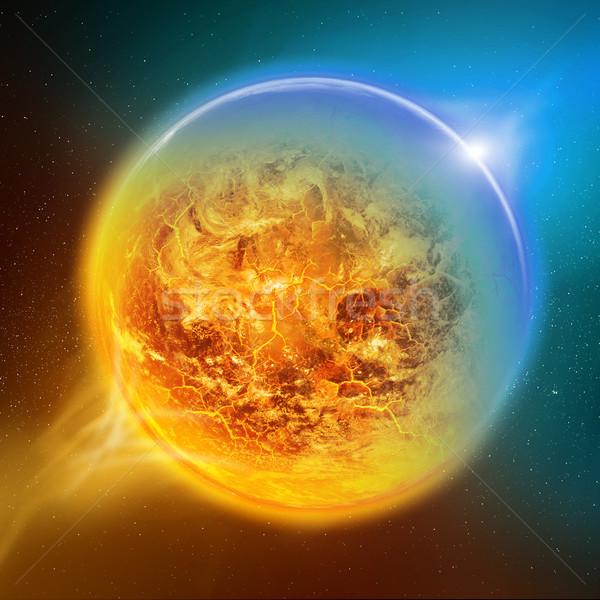 Globális felmelegedés Föld hatás kilátás égbolt nap Stock fotó © sdecoret