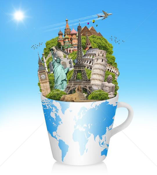 örnek ünlü dünya anıtlar fincan kahve Stok fotoğraf © sdecoret