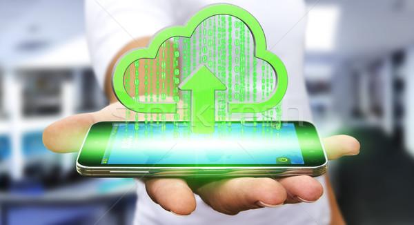 Empresário nuvem moderno telefone móvel imagem negócio Foto stock © sdecoret