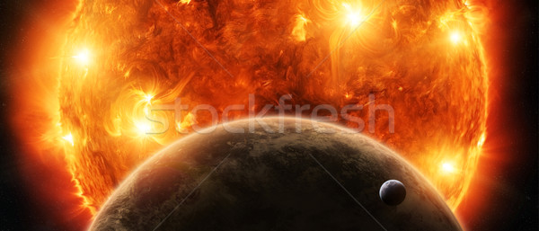 Exploding sun in space close to planet Earth and moon Stock photo © sdecoret