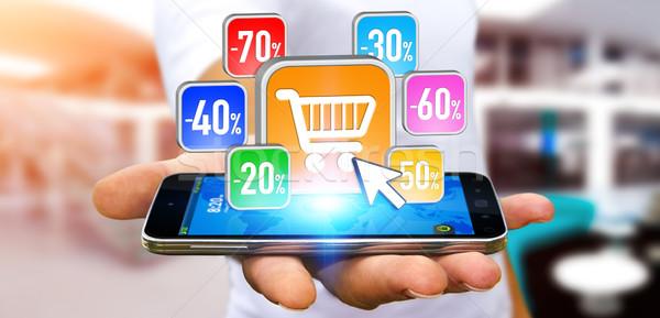 Fiatalember vásárlás eladó üzletember modern alkalmazás Stock fotó © sdecoret