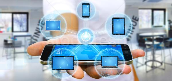 Zakenman tech telefoon Stockfoto © sdecoret