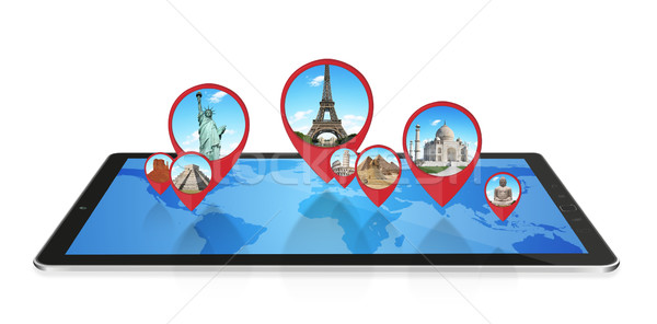 Monuments of the world on a modern tablet Stock photo © sdecoret