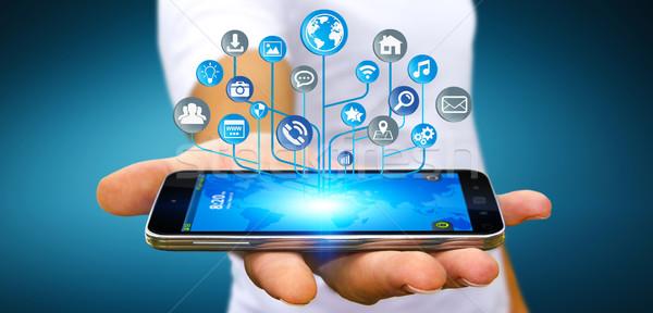 бизнесмен современных цифровой электронных схеме иконки Сток-фото © sdecoret