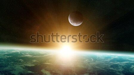 View of the moon close to planet Earth in space Stock photo © sdecoret