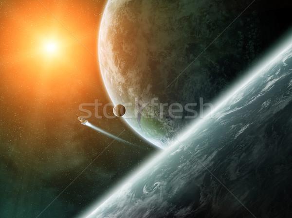 Napfelkelte bolygók űr kilátás nap naplemente Stock fotó © sdecoret