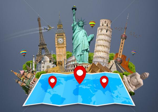 Világtérkép híres műemlékek világ együtt térkép Stock fotó © sdecoret