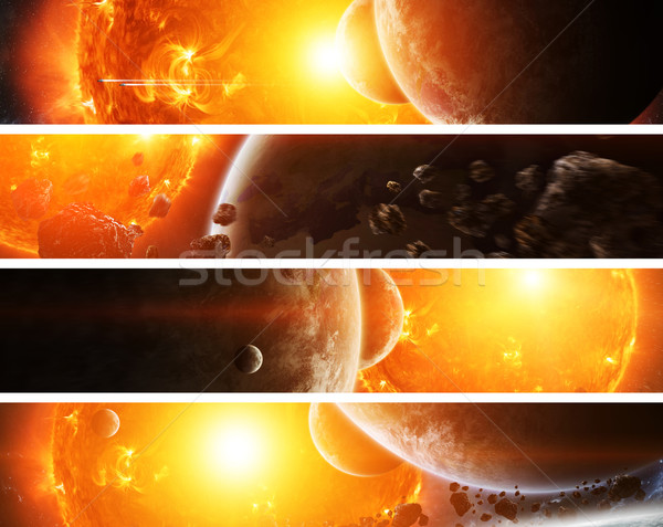 Stock photo: Exploding sun in space close to planet