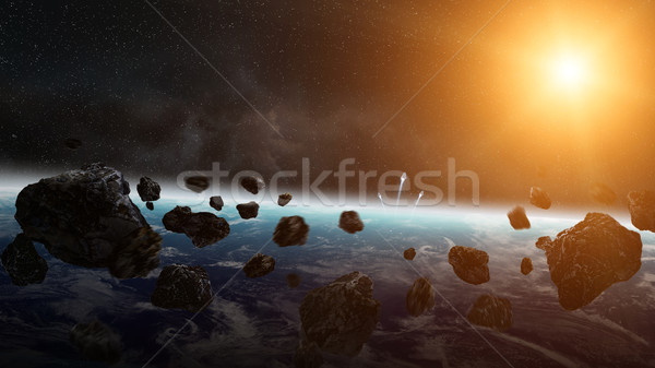 Meteorite impact on planet Earth in space Stock photo © sdecoret