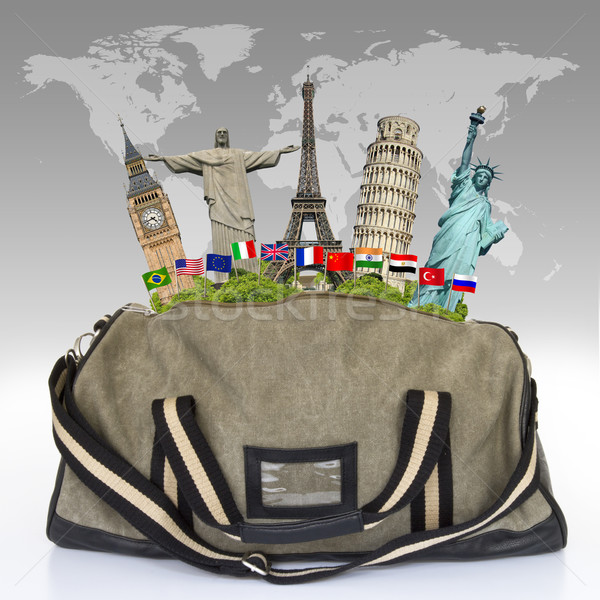 illustration of a travel bag full of famous monument Stock photo © sdecoret