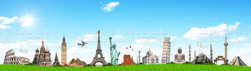 Illustrazione noto erba verde monumenti mondo mondo Foto d'archivio © sdecoret