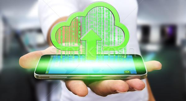 ビジネスマン 雲 現代 携帯電話 画像 ビジネス ストックフォト © sdecoret