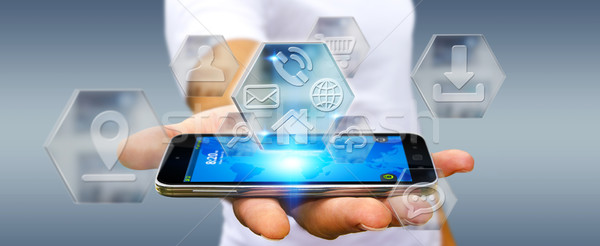 Photo stock: Affaires · modernes · numérique · téléphone · portable · applications · jeune · homme