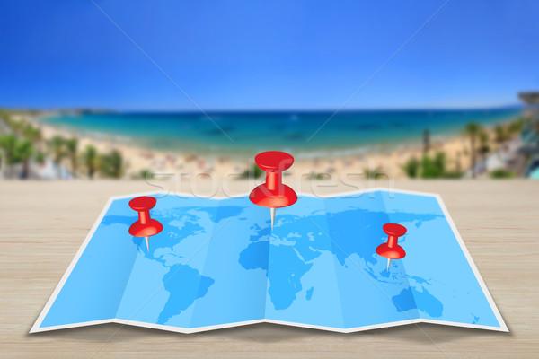 Stock photo: Pin map iconon a blue map