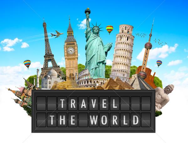 Anıtlar dünya havaalanı ilan panosu panel ünlü Stok fotoğraf © sdecoret
