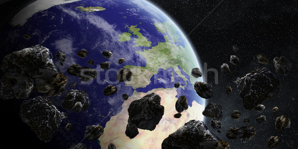 Meteorit Föld űr kilátás égbolt földgömb Stock fotó © sdecoret