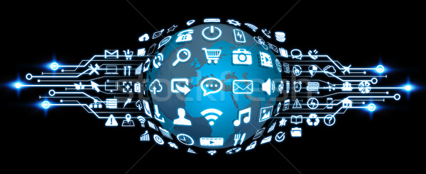 Stock photo: Digital world with web icons