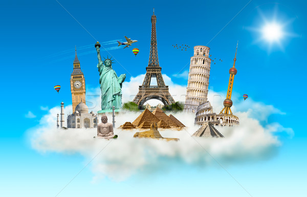 Famous monuments of the world in a cloud Stock photo © sdecoret