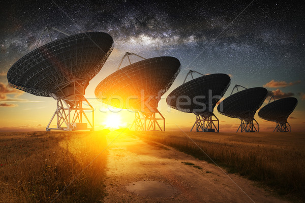 Satellite dish view at night Stock photo © sdecoret