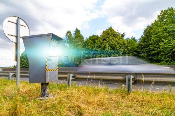 Automatikus sebesség kamera radar villanó autók Stock fotó © sdecoret