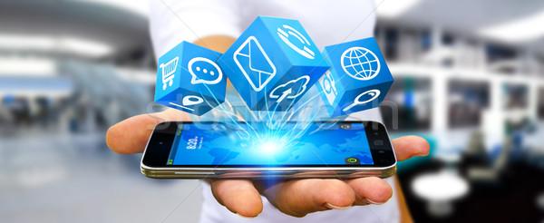 Empresario moderna digital icono aplicación móviles Foto stock © sdecoret