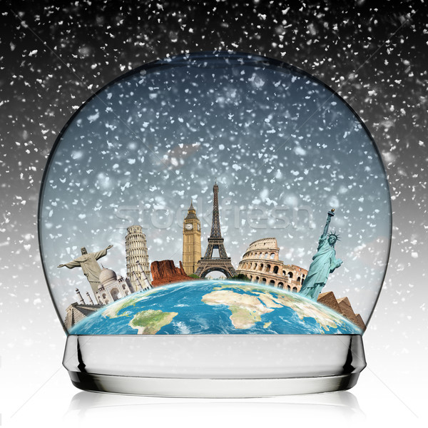 Monuments of the world in a snowball Stock photo © sdecoret