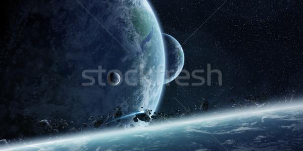 Sunrise planète terre espace vue coucher du soleil mer Photo stock © sdecoret