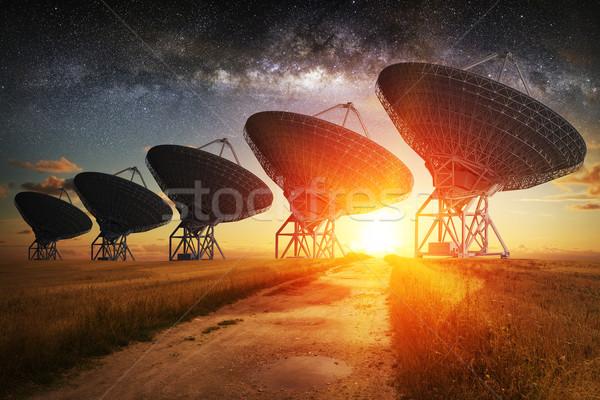 Satellite dish view at night Stock photo © sdecoret