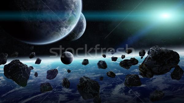 Zonsopgang groep planeten ruimte afgelegen Stockfoto © sdecoret