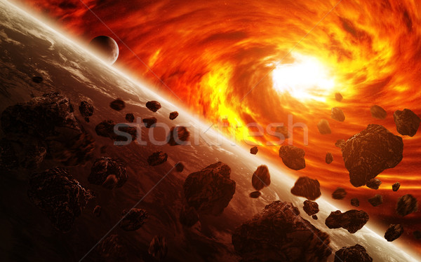 Stock photo: Red nebula in space with planet Earth