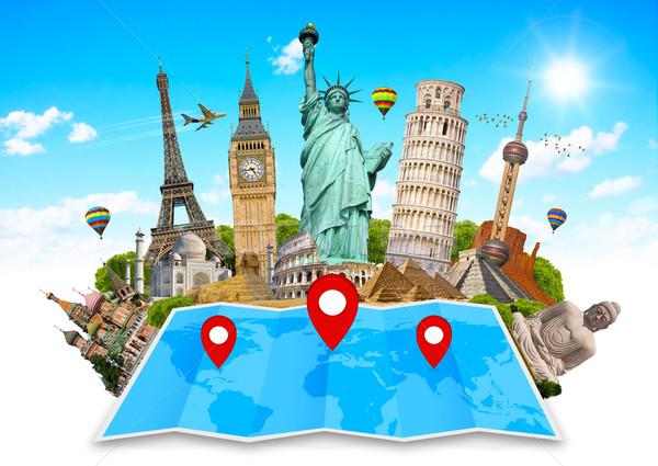 Dünya haritası ünlü anıtlar dünya birlikte harita Stok fotoğraf © sdecoret