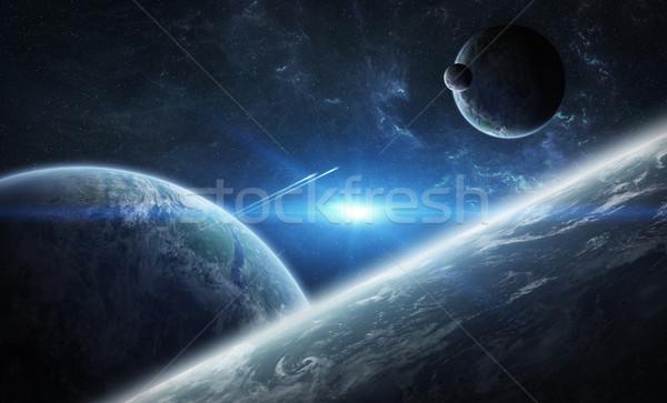 Sunrise groupe planètes espace vue Photo stock © sdecoret
