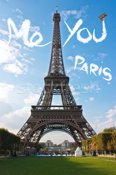 Foto stock: Amor · Paris · Torre · Eiffel · cidade · sol · coração