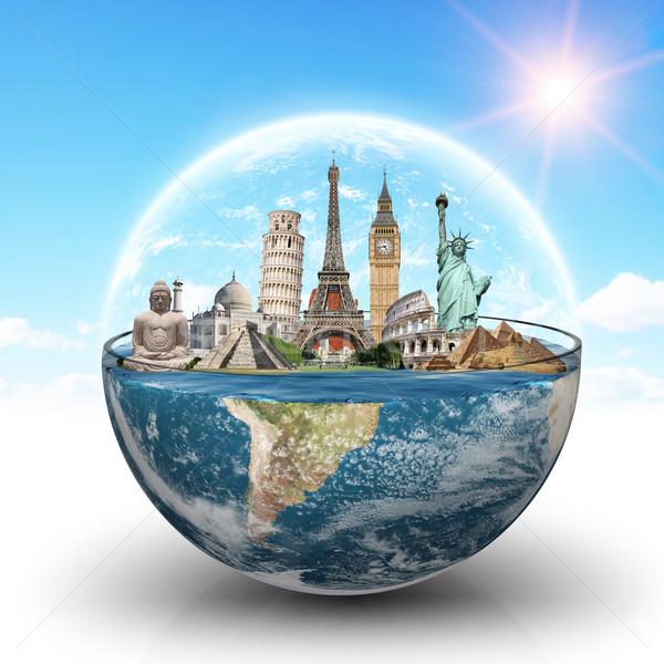 Monuments of the world in a glass of water Stock photo © sdecoret