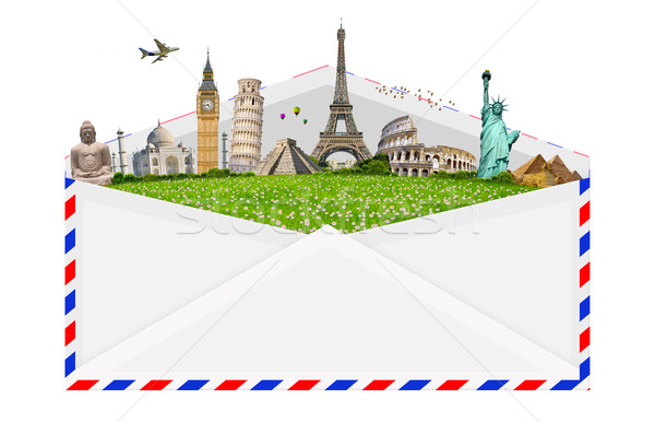 illustration of an envelope full of famous monument Stock photo © sdecoret